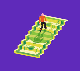 Person walking upstairs on banknote