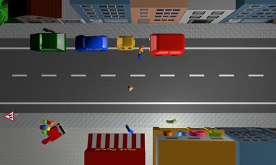 Straße in der Kinder, einem Ball hinterher, auf die Straße rennen. Ansicht von oben.