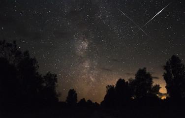 Meteor in the starry sky