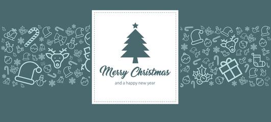 moderne und schöne Grußkarte zu Weihnachten mit Icons und Merry Christmas