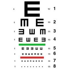 vector eye test chart. Visual acuity.