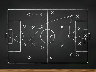 Chalkboard with soccer game tactic. Vector illustration.