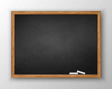 Blackboard with wooden frame, dirty chalkboard