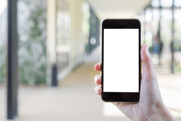 Close up of a man using smartphone with blank screen mobile.