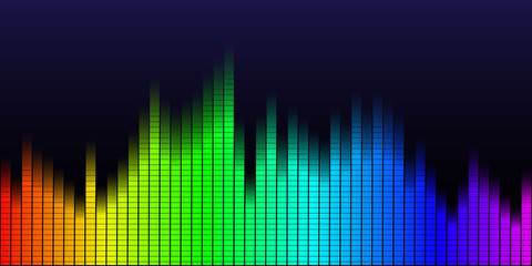 Disco rainbow colored music sound waves for equalizer