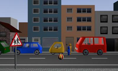 Straße in der Kinder, einem Ball hinterher, auf die Straße rennen. Ansicht von vorne