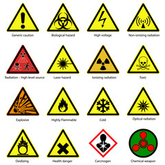 set of Hazard symbols. Warning signs