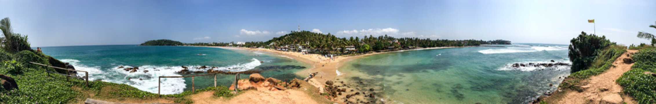 360 degrees panorama, beach in Mirissa, Sri Lanka