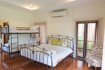 The interior of the bedroom for a vacation with family