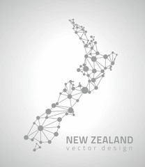 New Zealand grey dot outline vector triangle map