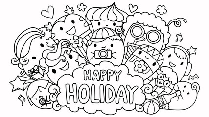 Happy holiday and cute monsters