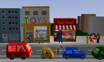 belebte Straße in der Kinder, einem Ball hinterher, auf die Straße rennen. Mit Geschäften, Autos und Popcornstand. Ansicht von vorne.