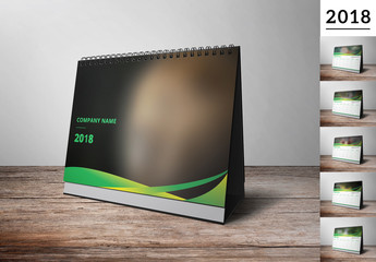 2018 Desk Calendar with Green and Yellow Accents