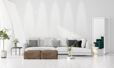 Modern interior design of livingroom in vogue with plant, grey divan, copyspace. Horizontal arrangement. 3D rendering.