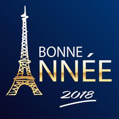 2018 - carte de vœux - Tour Eiffel - Paris - vœux -année - bonne année - carré - entreprise