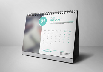 2018 Desk Calendar with Aqua Accents