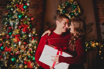 Couple celebrates new year/Christmas