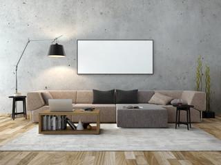 3d rendering of modern living room