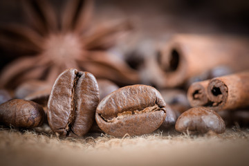 Coffee beans. Macro photo