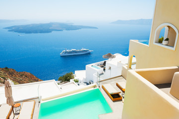 Santorini island, Greece. Famous Greek resort.