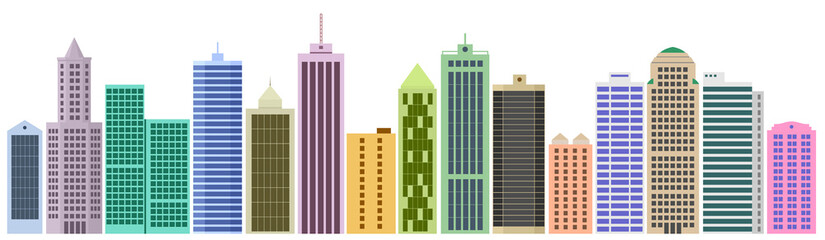 Cartoon banner of the website with set of skyscrapers and buildings. Set of facades. Vector graphics templates