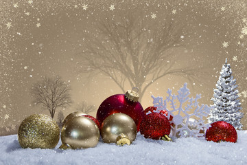 Christmas scene with ornaments and snow