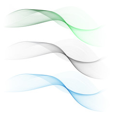 Vector set abstract wave pattern. Blue wave. Green wave.gray wave. Transparent wave set. Smoke wave.