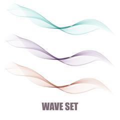 Vector set abstract wave pattern. Blue wave. Green wave.gray wave. Transparent wave set. Smoke wave.