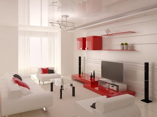 A stylish living room with stylish red furniture and a modern home cinema.