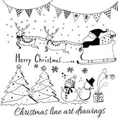 Hand drawn doodle vector. Christmas line art drawings in black. tree, santa and lettering, fir branches, ornaments, candy, present boxes for gift tags, labels,invitations card