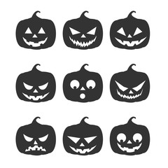 nine dark silhouette pumpkins with different emotions on an isolated background for halloween