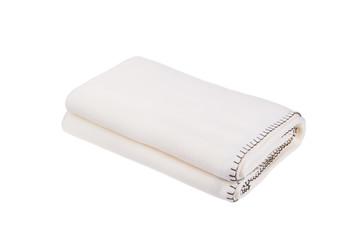 White wool blanket isolated on white background.