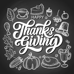 Happy thanksgiving brush hand lettering with food doodles on black chalkboard background. Calligraphy vector illustration. Can be used for holiday design.