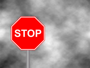 Stop sign in grey sky background. Red Stop Sign, Isolated Traffic Regulatory Warning Signage Octagon, White Octagonal Frame, Metallic Post, Large Detailed Vertical Closeup. Vector illustration.