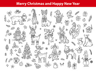 merry christmas and happy new year cute funny hand drawn outlined doodles animals silhouettes collection with polar bears penguin deer reindeer rabbit cat dog, fox wolf, owl bird