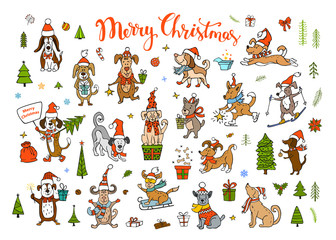 collection of cute funny christmas and happy new year 2018 greeting congratulating dogs wearing winter santa claus hats scarfs.pets sledding skiing jumping running having fun enjoying holidays