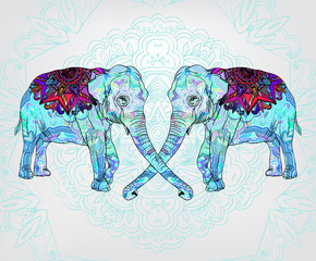 Background with decorative floral elephants