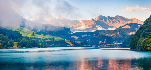 Panoramic view of Lungerersee lake.