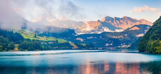 Panoramic view of Lungerersee lake.