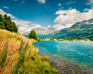 Summer sunny view of Sils im Engadin village.