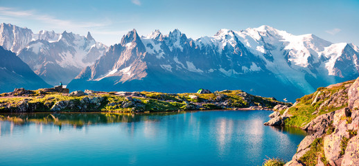 Colorful summer panorama of the Lac Blanc lake with Mont Blanc (Monte Bianco) on background, Chamonix location Wall mural