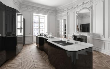 Stylish class black and white modern kitchen