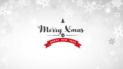 Christmas light background with white snowflakes and Merry Xmas text - light version