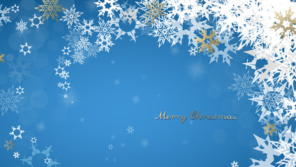 Christmas dark background with golden - white snowflakes and Merry Christmas text - dark version