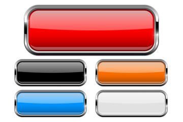 Rectangle buttons set with bold chrome frame. 3d shiny icons