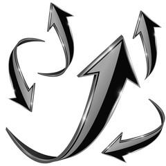 Arrow. Black 3d shiny signs