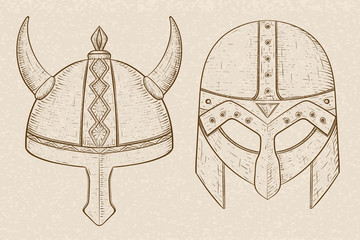 Horned viking helmets. Hand drawn sketch on beige background