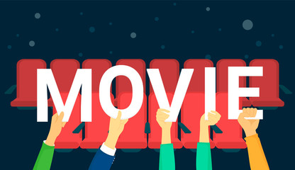 Movies letters vector illustration of happy people visiting cinema and enjoy the film. Flat human hands hold white letters on dark background with red cinema seats behind