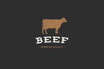 Emblem of Butcher shop with picture of silhouettes cow and writing beef premium quality. Design elements for meat stores, packaging and advertising. Vector Illustration.