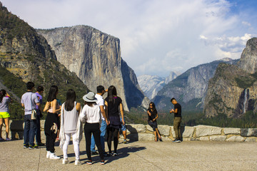 Views of El Capitan and Yosemite Valley from the Tunnel View observation area. Yosemite National Park, California. A World Heritage Site since 1984